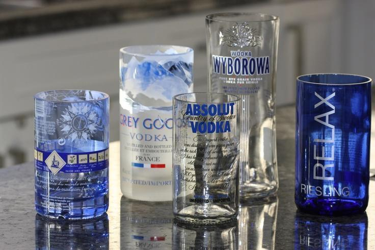 Make and sell drinking glasses made from bottles small for Glass cutter to make glasses from bottles
